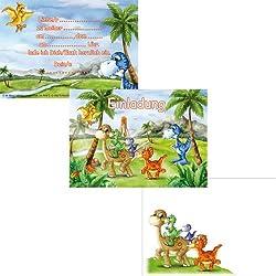Juego de 12invitaciones Juego de * * dinosaurios con 6tarjetas de invitación y 6sobres Cumpleaños para niños/Fiesta De Cumpleaños/tarjetas de invitación de Dino T Rex dinosaurios saurier