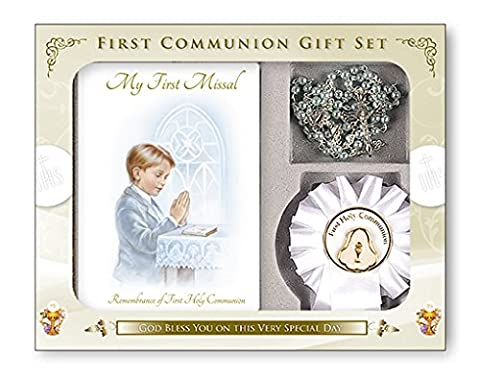 BOY First Holy Communion Gift Set Missal Book, Rosary Beads, Rosette, Lapel Pin Brooch OLC5202