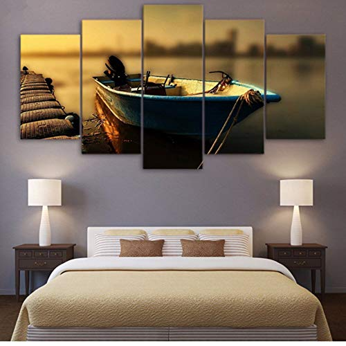 Lglays hd stampato frame poster canvas wall art modulare vintage pier immagini home decor 5 pezzi galleggiante pittura barca da pesca-30x40cmx2 30x60cmx2 30x80cmx1