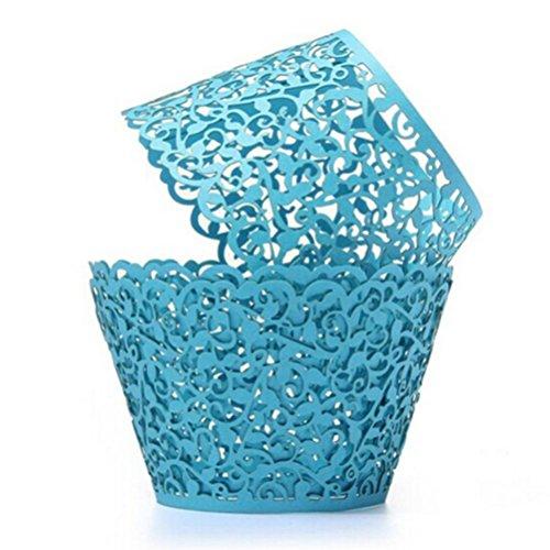 ROSENICE Cupcake Wrappers 50 Stück Muffinförmchen Hochzeit Muffins Backförmchen für Weihnachten Hochzeit Geburtstag(blau