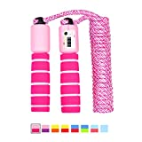 LAKIND Corda per Saltare Corda per Saltare Regolabile,Corda per Saltare Bambini ,Corda per Saltare con Manici in Schiuma e Contatore,per Allenamento Fitness (Pink)