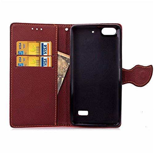 YHUISEN Huawei Honor 4C Case, Natur Blatt Magnetverschluss Stil PU Leder Brieftasche Flip Case Cover für Huawei Honor 4C ( Color : Green ) Black