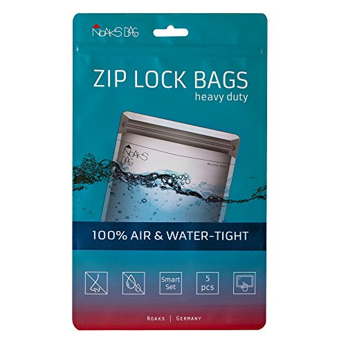 Noaks Bag Smart Set | 5 exemplaires | Sac étanche, Enveloppe de protection, Sachet zip | 100% imperméable à 10 m, étanche á l'air, approprié pour des produits alimentaires