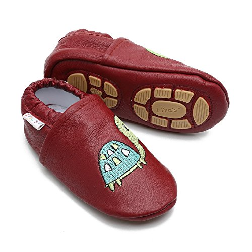 Liya's Babyschuhe Hausschuhe Exclusiv mit Gummisohle - #679 Schildkröte in rubinrot - Gr. 25/26