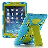 Meiya iPad Air 2 Coque,New Robuste Rsistant aux Chocs salet Neige Sable Proof Survivor Extreme Heavy Duty Etui iPad Air 2 Enfant Cadeau Pochette pour iPad Air 2 iPad 6(Bleu+vert)