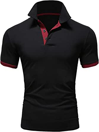 Ehpow Mens Polo Shirt Classic Causal Short Sleeve Golf T-Shirt Tops