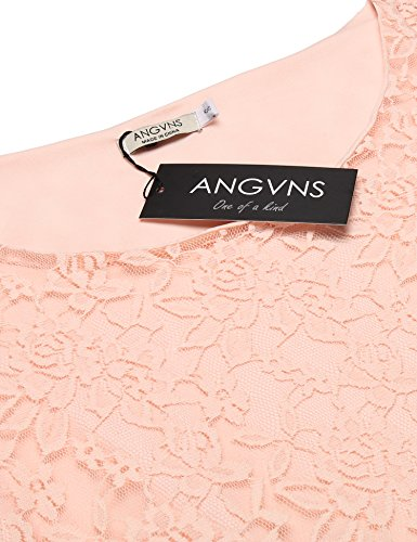 ANGVNS Damen Spitzenkleid O / V-ausschnitt mit Floral-Spitze Cocktail Party Club in 7 Farbe O-1-Rosé