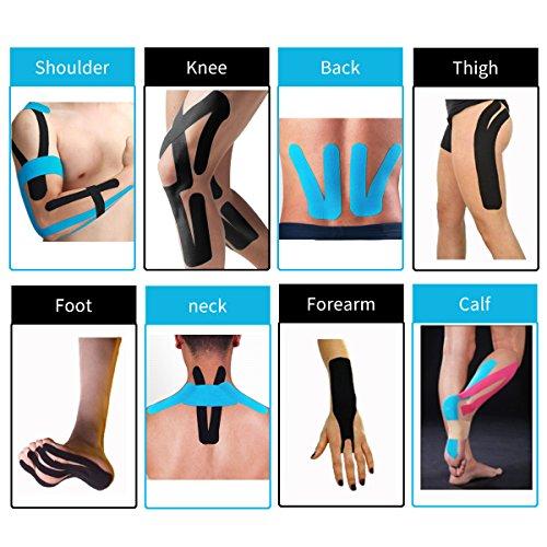 2 Rollen Physio Tape Kinesiologie Tape, Aollop Muskeln Kinesiology sport vorgeschnitten 5m x 5cm(16.4 Fuß x 2 Zoll) Rollenlänge Elastisches Therapeutisches sport verletzungen Tape elastische Bandage für Plantarfasziitis Physiotherapie, Knöchel, Knie,Rücken, Nackenschmerzen Nacken .Muskel und Gelenk Tape (1Blau+1Schwarz) - 7