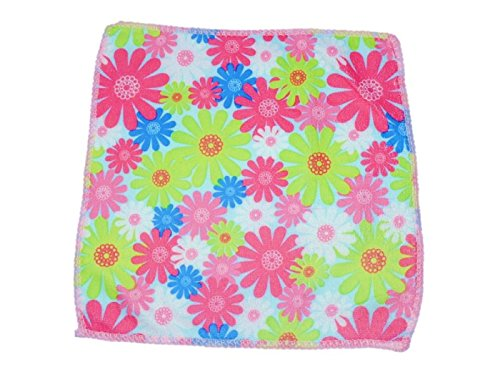 Platinum Kids flowers print Handkerchief/Napkin in super soft cotton with multi patterns and colors (Pack of 4) in sale offer!!