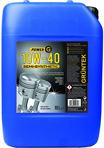 Olio Gruntek Power G 10w40 Semi-Syntetic 10 L Lubrificante auto