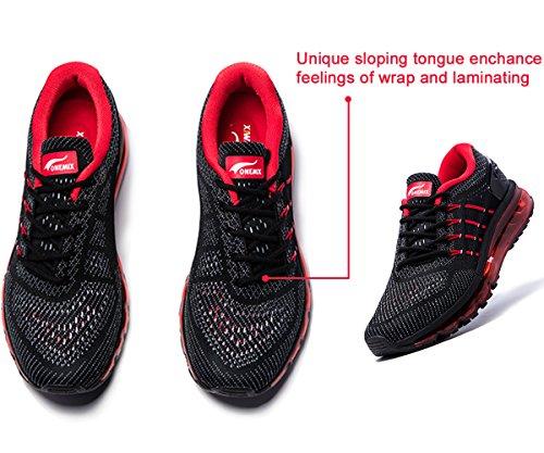 Onemix Air Scarpe Running Uomo Ginnastica Sportive Outdoor Sneakers Palestra Tennis Scarpe da Corsa Nero rosso