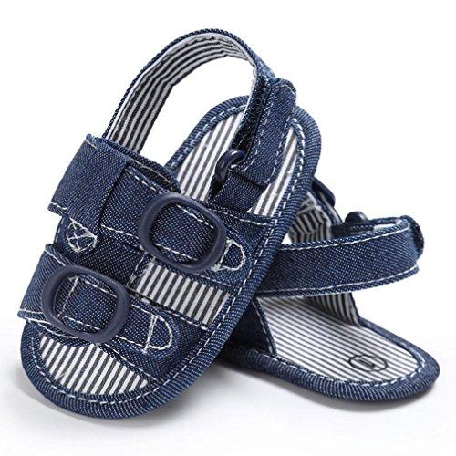 Tefamore Canvas Boys mignon berceau Chaussures T-attaché Soft Prewalker Soft Sole Chaussures Bleu