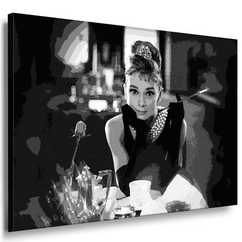 "Kunstdruck \""Audrey Hepburn\"" / Bild 100x70cm / Leinwandbild fertig auf Keilrahmen / Leinwandbilder, Wandbilder, Poster, Pop Art Gemälde, Kunst - Deko Bilder"