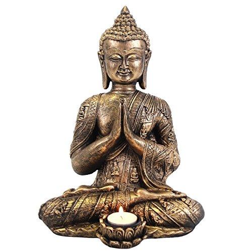 oße Buddha-Teelichthalter, Bronze und Gold ()