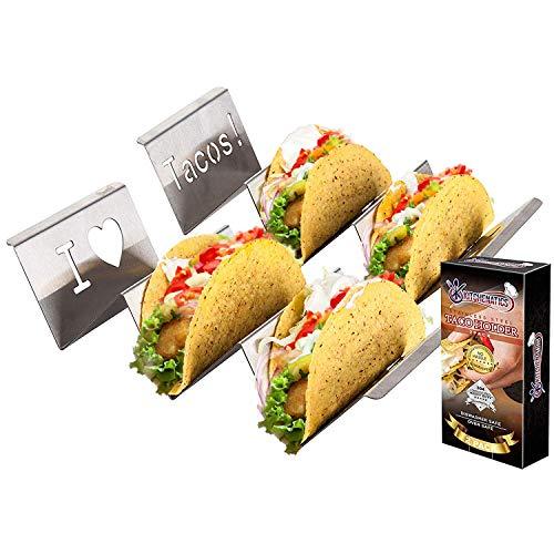 Kitchenatics acciaio inox cibo messicano stand : 2 metal wave supporti per servire pita, piade, hotdog, hamburger ecc-grill accessorio, adatto per forno e lavastoviglie-(2 pack)-per 2-3 tacos