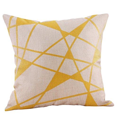 ShunHoo 1Pcs Multicolor Cotton Linen Mustard Pillow Case, Yellow Geometric Autumn Decorative, 45 * 45cm -