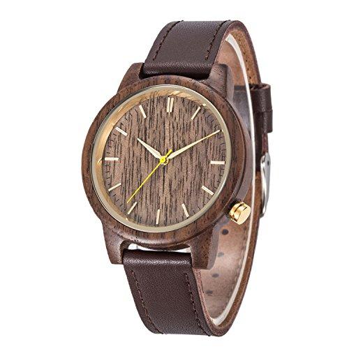 Legno naturale Watch, Kwock MIYOTA Giappone 2035 Movimento Al Quarzo Originale di Cuoio di Legno Orologi da Polso Unisex di Festa di Compleanno ed il Regalo San Valentino (Noce Nera)
