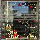 HAPPYLR Weihnachtsdekoration Fensteraufkleber Jahr Wandaufkleber Schneemann Aufkleber Schneeflocken Weihnachten Schaufenster Glastür Aufkleber, Gold + Rot, Extra Groß