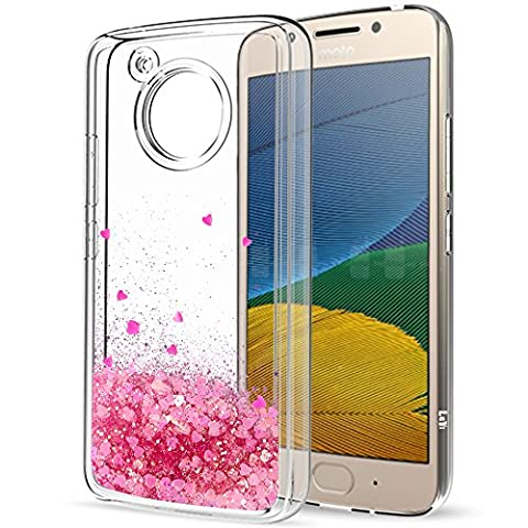 Moto G5 Liquid Case with HD Screen Protector for Girls Women,LeYi Cute Shiny Glitter Moving Quicksand Clear TPU Full Body Protective Phone Case for Motorola Moto G5 ZX Pink