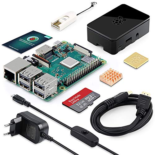 ABOX Raspberry Pi 3 Modell B Plus (B +) Ultimatives Starterkit mit 32GB Class 10 SanDisk Micro SD Karte, 2,5A EIN/aus-Schaltnetzteil und Premium Black (Model Raspberry Bundle Pi B)