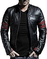 Leather4u Men's Cowhide Leather jacket KC767 Black