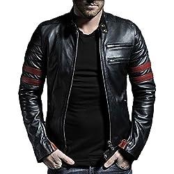 Leather4u Chaqueta de cuero para hombre, piel de vaca, Negro KL767 M