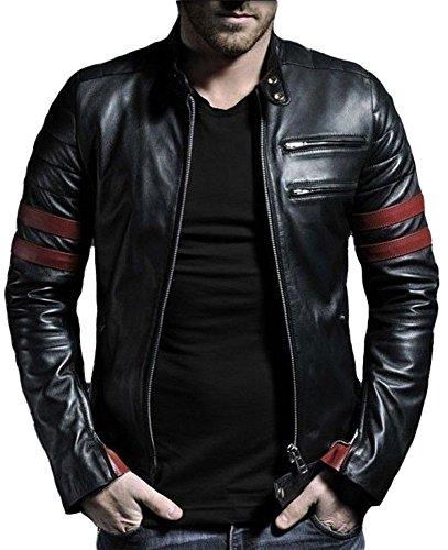 leather4u da uomo giacca in pelle di agnello kl767Nero Black Large