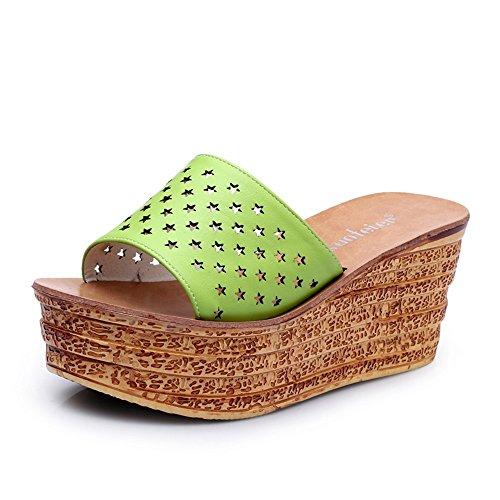 Estate Sandali 7.5cm Pantofole fresche di modo delle donne di estate (nero / blu / verde / arancione / bianco) Colore / formato facoltativo Verde