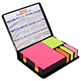 #7: PINZO™ Sticky Note Memo Pad with Arrow Flags in PU Leather Case with 2018 Calendar - Bright Neon Colors