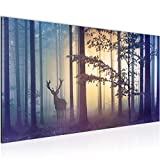 Bilder Wald Hirsch Wandbild Vlies - Leinwand Bild XXL Format Wandbilder Wohnzimmer Wohnung Deko Kunstdrucke Blau 1 Teilig - MADE IN GERMANY - Fertig zum Aufhängen 013412a