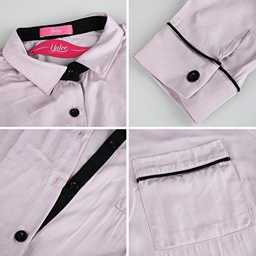 Yulee Femme Pyjama Bouton Chemise Sexy Vêtements De Nuit 1 Pcs Rose Violet