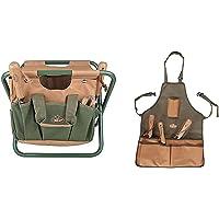 Esschert Design GT01 41 x 31 x 30cm Metal/ Textile Garden Stool - Green & GT06 58 x 48 x 1cm Short Textile Garden Apron - Green