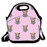 YWG leopardo cabeza rosa Ziplock bolsa de almuerzo Tote portátil bolso caja de almuerzo Impermeable Aislado Alimentos contenedor para niños y niñas escuela Picnic oficina de viaje al aire libre