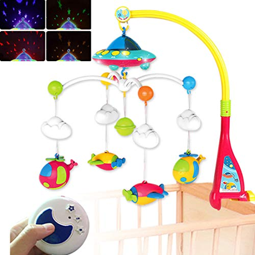 ONE BUYONE Baby Musical Cot Mobile Musical Toy Roy Overhead Stars mit Farbe wandelnde Wand Ceiling Starlight-Projektion Overhead-mobile