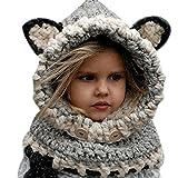 koobea Bonnet Chaud Chapeau Cagoule Renard Bebe Enfant Echarpe Hiver Automne en Laine Tricote (Gris)