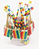 24 x Bunte HB Buntstifte mit mini-packung 5 Bleistift zum Ausmalen. Regenbogen-Design. Idealer für jede Partygeschenk-Tüte oder als Geschenk zum Schuljahresende.
