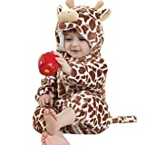 Jiajia - Pelele unisex para bebé, cálido, de franela, disfraz de animal  marrón jirafa