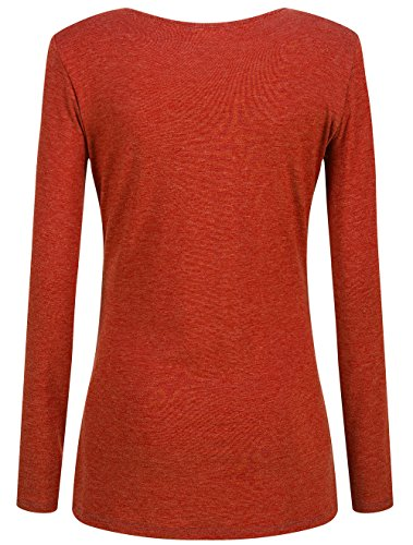 KorMei Damen Langarmshirt Rundkragen Layered Zip Faux Twinset T-Shirt Orange&Dunkelgrau
