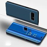 COTDINFOR Samsung Galaxy S7 Edge Hülle Ledertasche Handyhülle Männer Mädchen Slim Clear Crystal Spiegel Flip Ständer Etui Hüllen Schutzhüllen für Samsung Galaxy S7 Edge Mirror PU Blue MX.