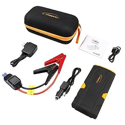 YABER Arrancador de Coches 800A Jump Starter 18000mAh Batería Coche  con LCD Display, Dual USB Outputs, LED, Smart Clamp Cable  para Emergencia Smartphones, Moto, Vehículos