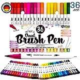 woohoo4u Dual Brush Pen Set für Aquarell, Handlettering, Calligraphie, Bullet Journal, Comics, Manga, Mandala, , Stifte mit Fasermaler 2mm und Fineliner 0.4mm (mit 36 Farben)