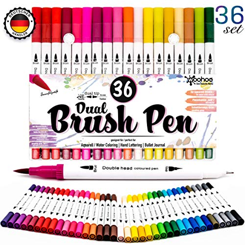 ual Brush Pen Set Filzstifte/Fineliner Set - [ 36 Farben ] Hand-Lettering Stifte fürs Bullet Journal Zubehör für Kalligraphie, Marker Stifte als Fasermaler 2mm, Fineliner 0.4mm ()