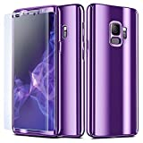 NALIA 360 Grad Handyhülle kompatibel mit Samsung Galaxy S9, Full-Cover & Schutzfolie vorne hinten Hülle Doppel-Schutz, Dünn Ganzkörper Case Etui Handy-Tasche, Bumper & Displayschutz, Farbe:Lila