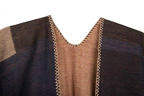 styleBREAKER Poncho mit Rechteck Muster, Umhang, Überwurf Cape, Wendeponcho, Patchwork Design, Damen 08010008 Braun-Beige-Schwarz-Rost