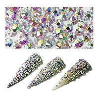 QIMEIYA 1440Pcs Nail Art Rhinestone Crystals AB Flatback Glass Charms Gems Stones for Nails Decoration(SS12)