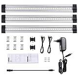 LEDGLE 3er-Pack Unterbauleuchte LED Schrankleuchte mit Stecker 12V DC Ultra dünne Vitrinenbeleuchtung Energiesparende Küchenlampen einzeln oder im Verbund nutzbar alle Zubehör enthalten