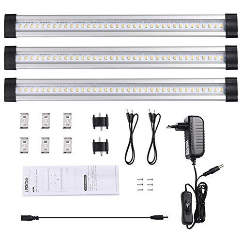 LEDGLE 3er-Pack Unterbauleuchte LED Schrankleuchte mit Stecker 12V DC Ultra dünne Vitrinenbeleuchtung Energiesparende Küchenlampen einzeln oder im Verbund nutzbar alle Zubehör enthalten -