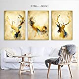 DEED Pittura decorativa dei cervi di fortuna, trittico della stampa animale moderna nordica, pittura della camera da letto del salone, murale a getto d'inchiostro,A,30 * 40cm