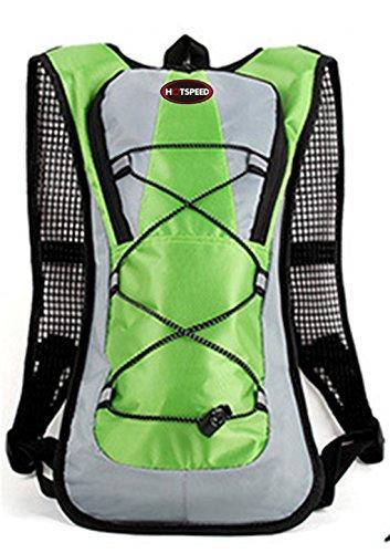 Hydration Pack Rucksack Tasche Bag Packtaschen Laufen Wandern Klettern Radfahren mit 2Liter Wasser Blase Taschen kostenlos bis Ihr Hände mit extra Speicher der Tasche für Tablets Handy Schlüssel Port Grün