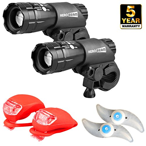 HeroBeam� Double Bike Lights Set - The Ultimate Lighting and Safety Pack of Super Bright Front Bicycle Lights, Tail Lights and Wheel Lights - 5 Year Warranty